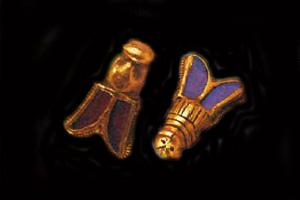 Золотые украшения в виде пчёл из захоронения Хильдерика I. V в.