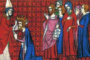 Коронация Карла Великого. Миниатюра. XIV в.