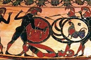 Битва греческих воинов с галлами. Фрагмент росписи вазы VII в. до н.э.