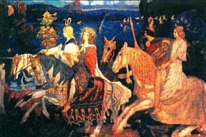 Дж. Дункан. Всадники Сида 1911г. На картине изображен Белениус – бог Солнца у кельтов