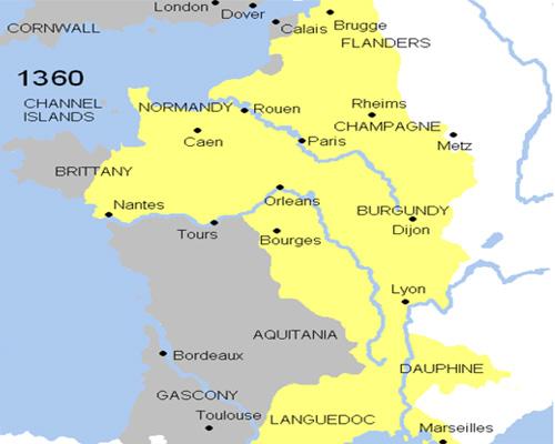 Франция по итогам первого этапа Столетней войны (1360 г.)