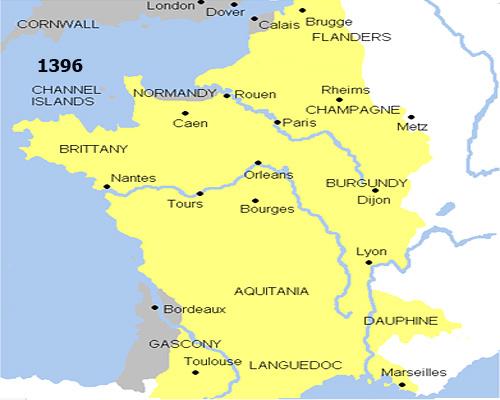 Франция по итогам второго этапа Столетней войны (1396 г.)