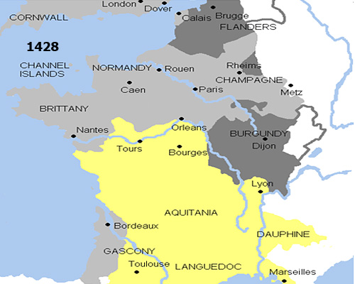 Франция по итогам третьего этапа Столетней войны (1428 г.)