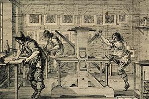 Типографская мануфактура в Париже в XVI веке