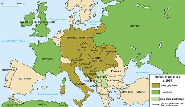 Диспозиция сил Антанты и Тройственного союза накануне Первой мировой войны
