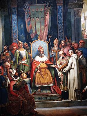 Карл Великий в окружении феодалов