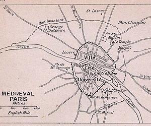 План Парижа к концу XIII в