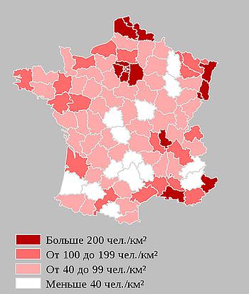 Плотность населения департаментов Франции
