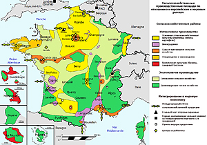 Карта сельскохозяйственных регионов Франции
