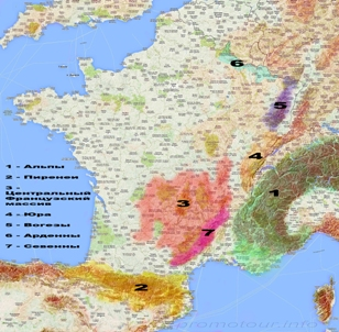 Карта гор Франции