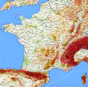 Физическая карта Франции