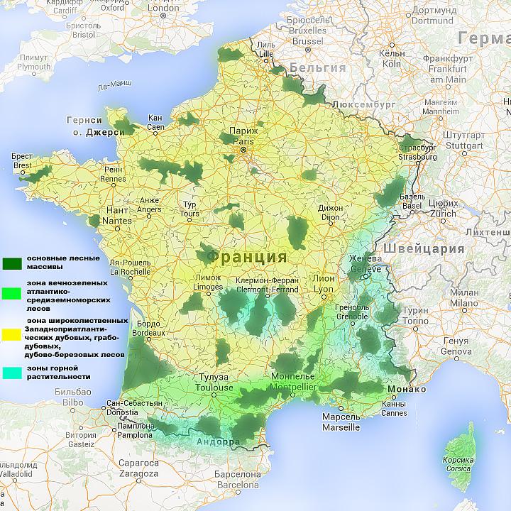 Карта растительности Франции