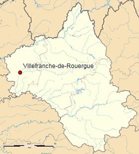 Вильфранш-де-Руэрг (Villefranche-de-Rouergue) на карте департамента Авейрон (Окситания)