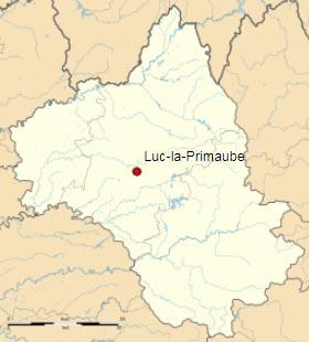 Люк-ла-Примоб (Luc-la-Primaube) на карте департамента Авейрон (Окситания)