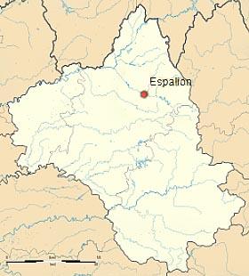 Эспальон (Espalion) на карте департамента Авейрон (Окситания)