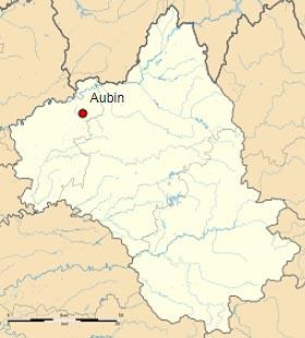 Обен (Aubin) на карте департамента Авейрон (Окситания)