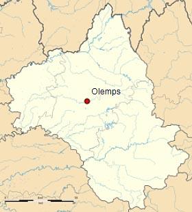 Олан (Olemps) на карте департамента Авейрон (Окситания)