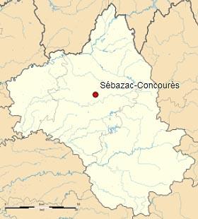 Себазак-Конкурес (Sébazac-Concourès) на карте департамента Авейрон (Окситания)