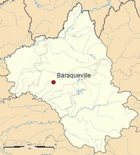 Бараквиль (Baraqueville) на карте департамента Авейрон (Окситания)