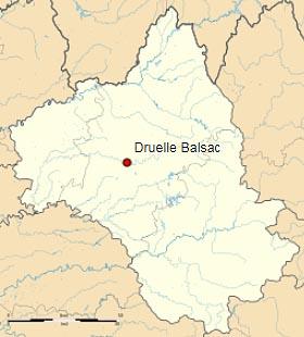 Дрюэль Бальзак (Druelle Balsac) на карте департамента Авейрон (Окситания)