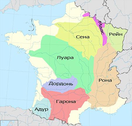 Карта бассейнов основных водных систем Франции