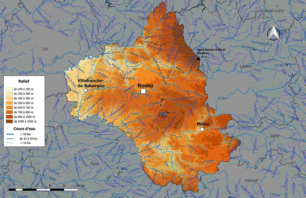 Департамент Авейрон (физическая карта)