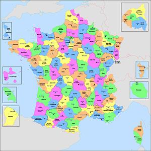 Административно-политическая карта Франции. Карта департаментов  Франции