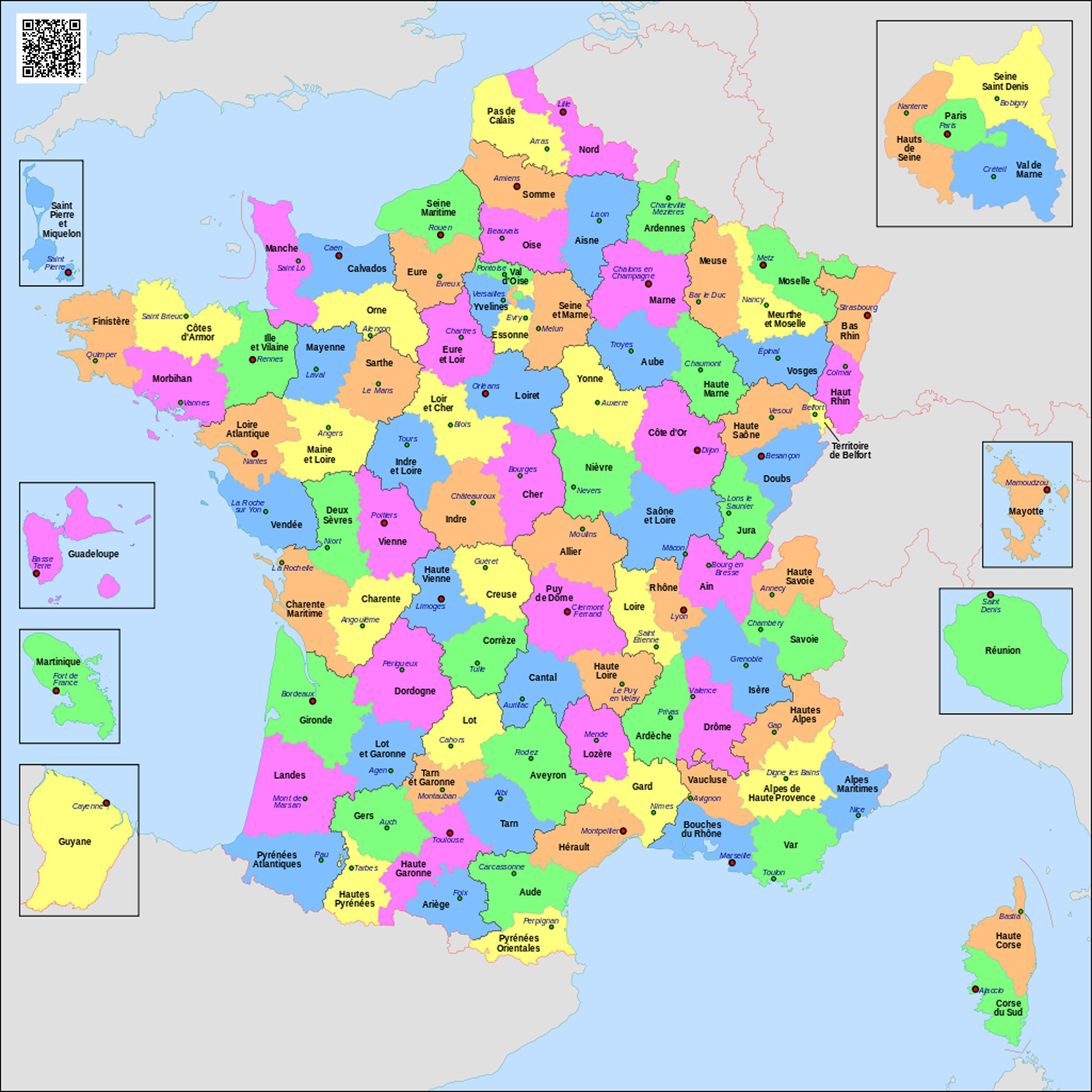 Карта департаментов  Франции