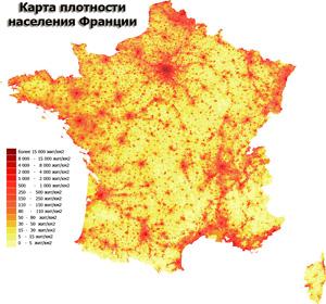 Карта плотности населения Франции