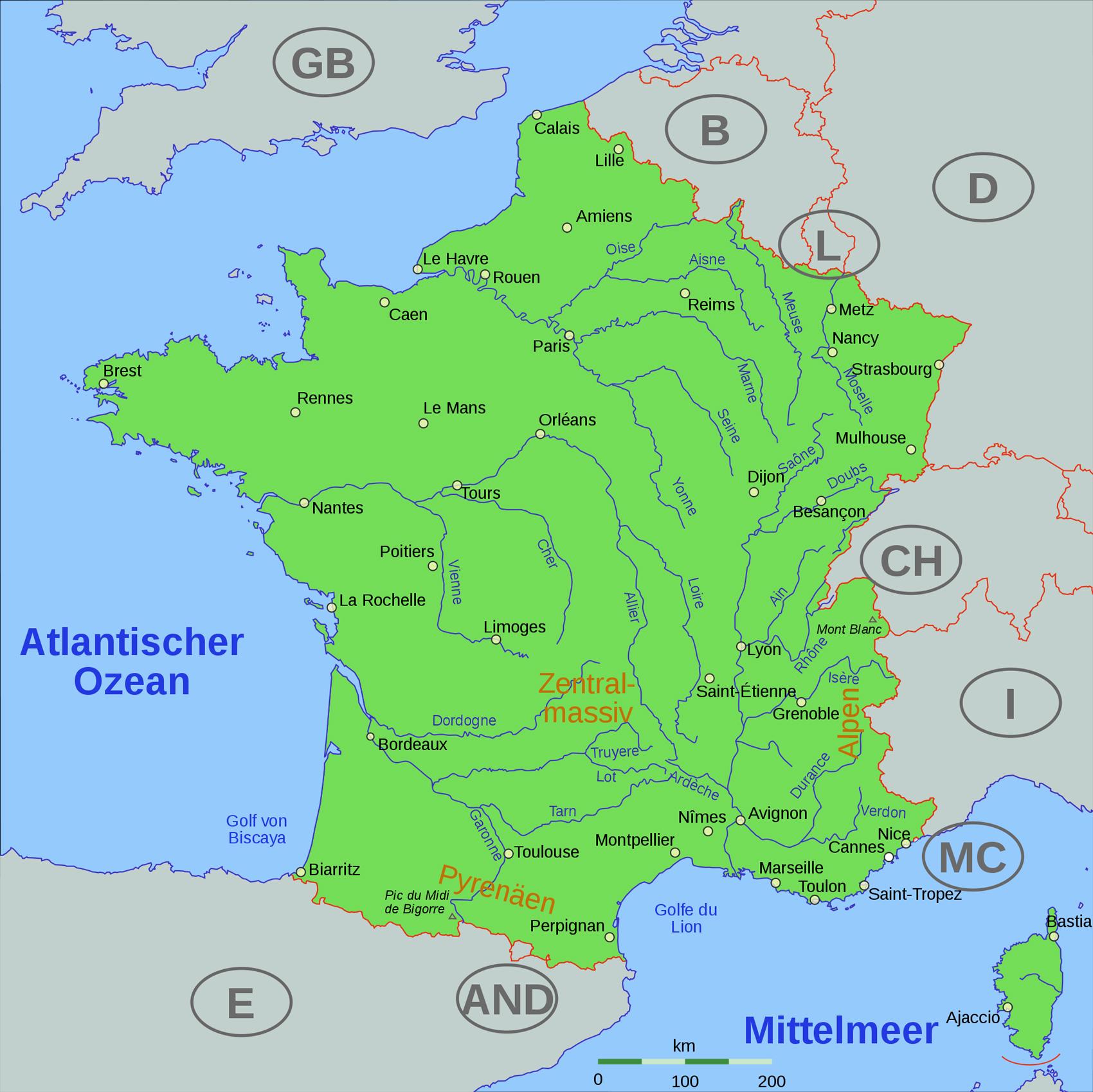 Карта рек Франции