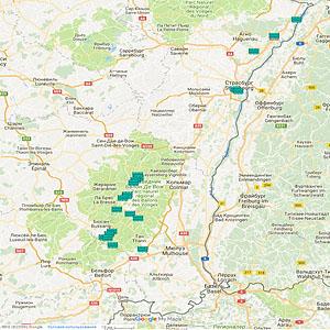 Карта озер Эльзаса