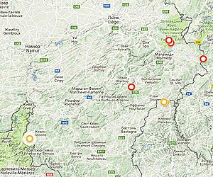 Карта горных вершин Арденнов