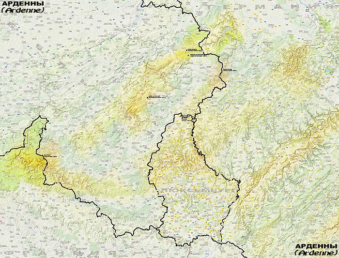 Горы Арденны на карте