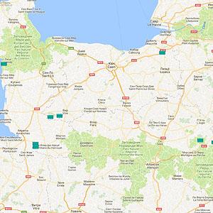 Карта озер Нижней Нормандии