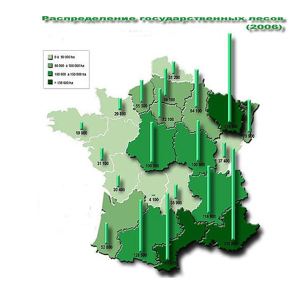 Распределение государственных лесов по регионам Франции