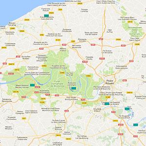 Карта озер Верхней Нормандии
