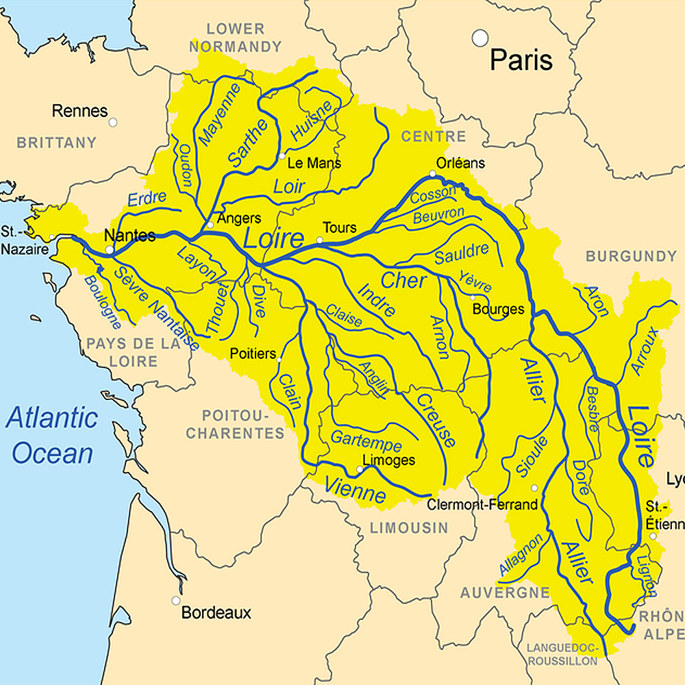 Луара и притоки на карте