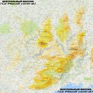 Карта Центрального массива (Франция)