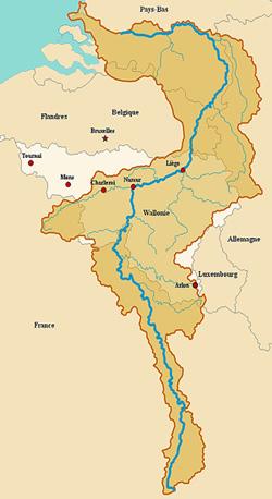 Бассейн Мааса на карте