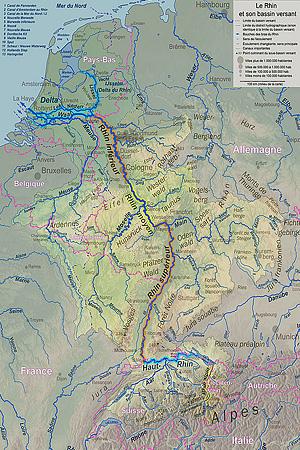 Бассейн Рейна на карте