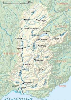Бассейн Роны на карте