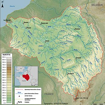 Сена и притоки на карте