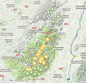 Карта горных вершин Вогезов