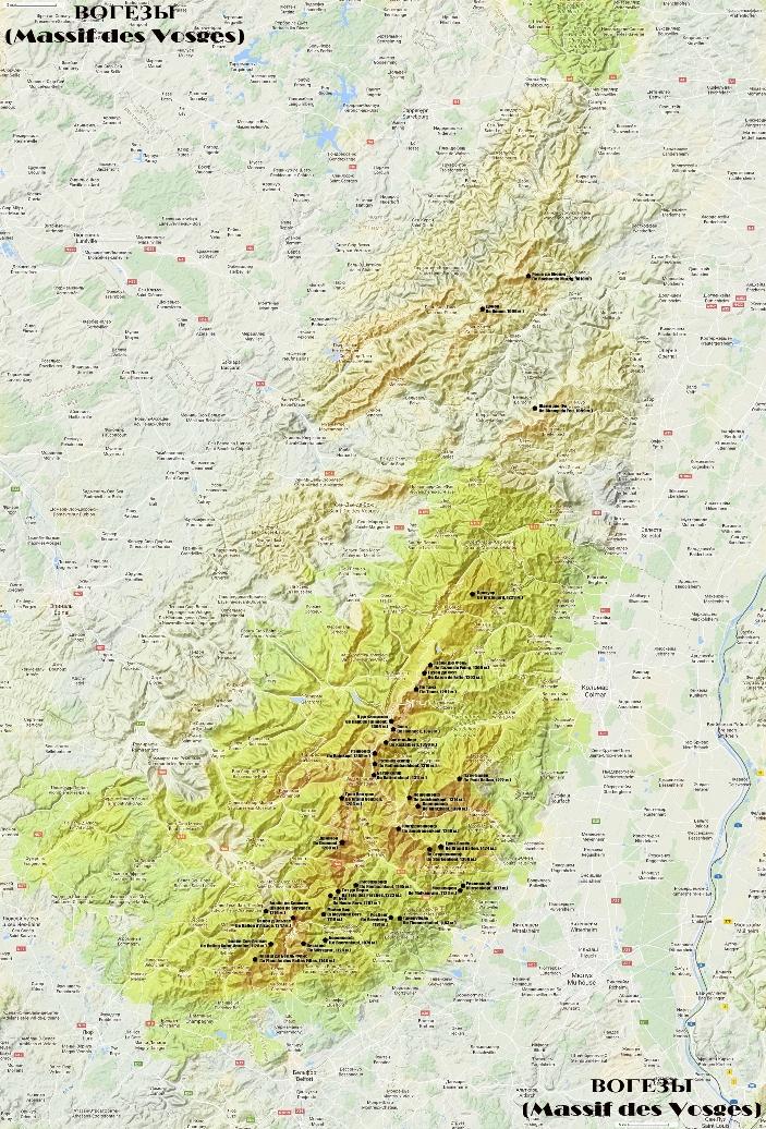 Горы Вогезы на карте