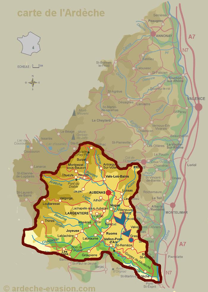 Бассейн реки Ардеш на карте