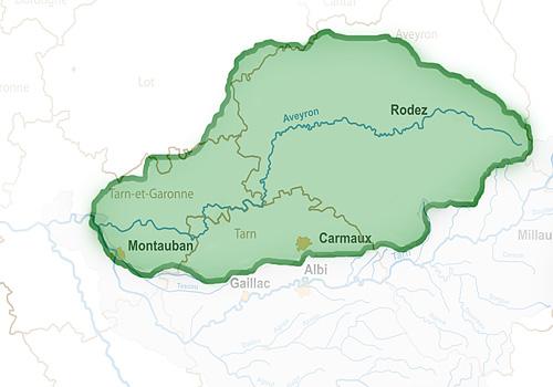 Бассейн реки Авейрон на карте