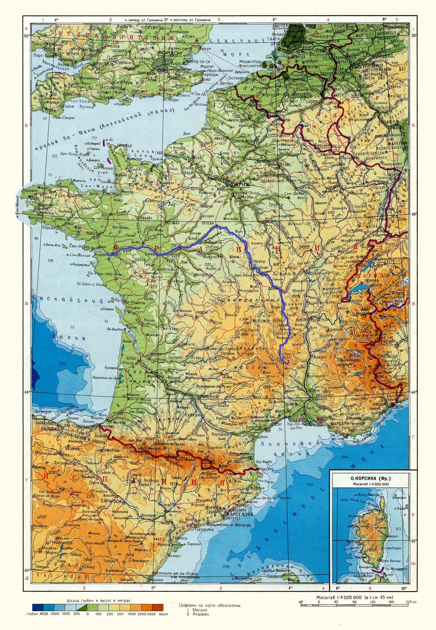 Река Луара (Loire) на карте