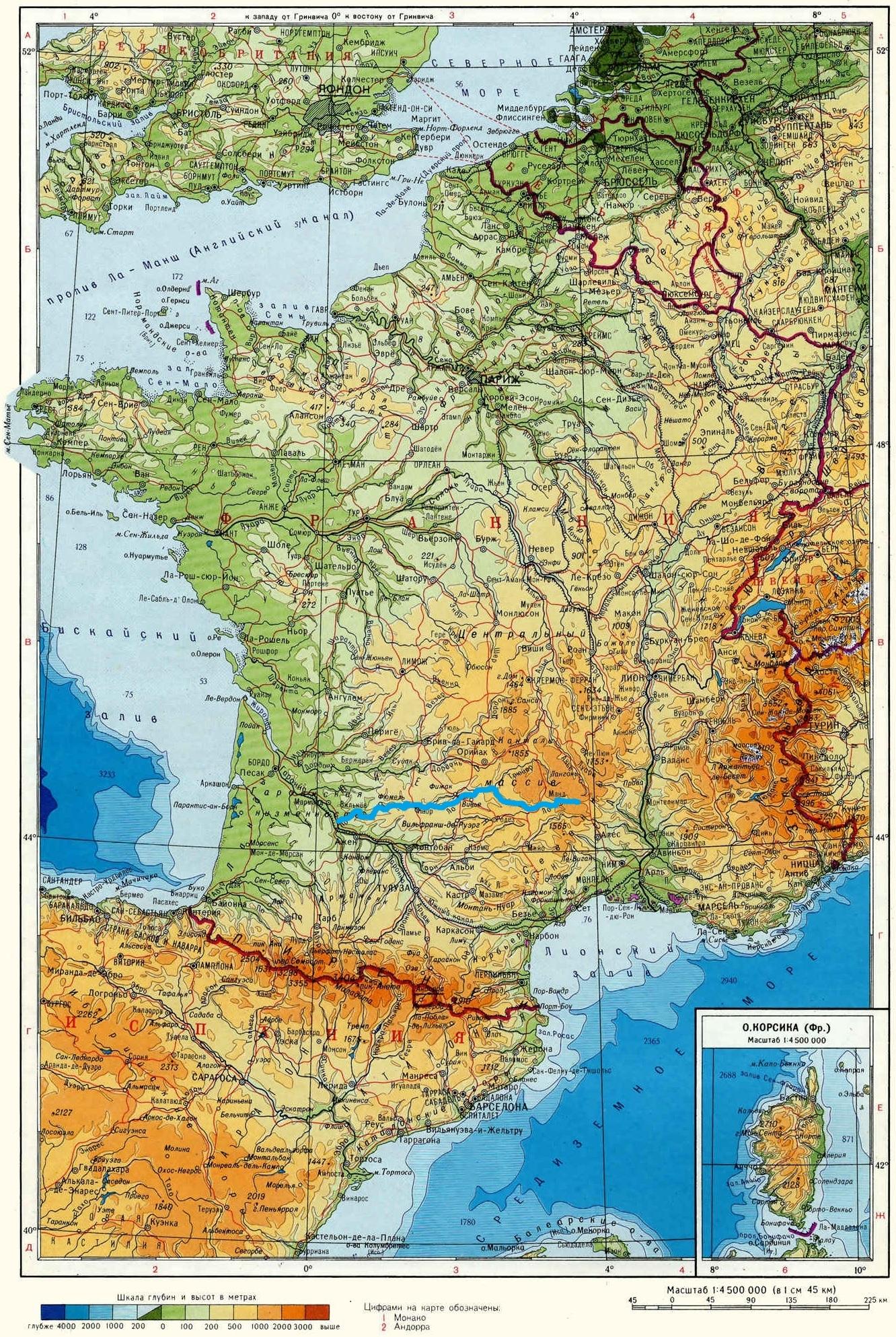 Река Ло (Lot) на карте