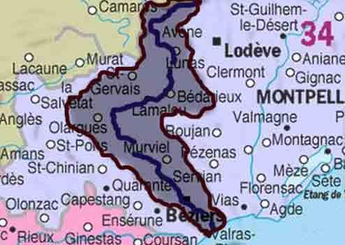 Бассейн реки Орб на карте