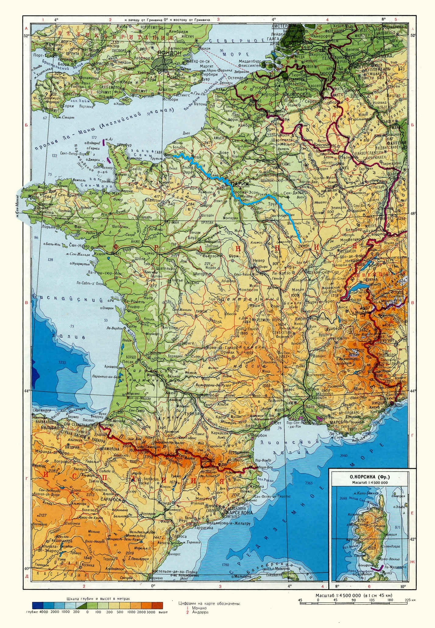 Река Сена (Seine) на карте